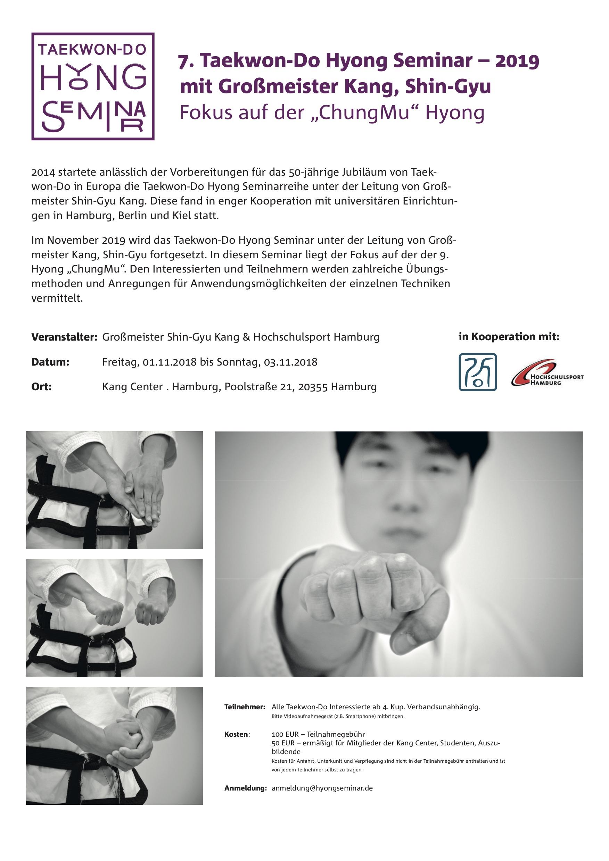 7. Taekwon-Do Hyong Seminar | 01. – 03. November 2019 | Hamburg