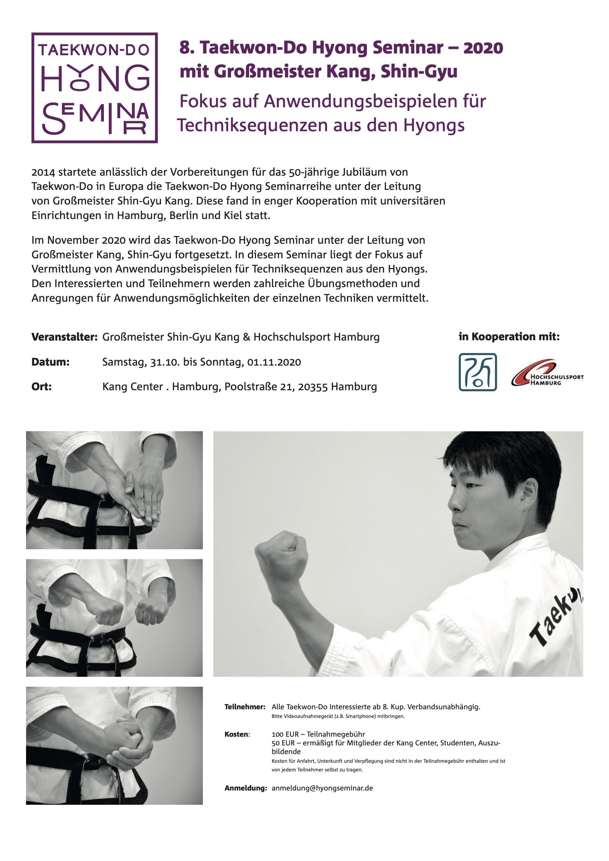 8. Taekwon-Do Hyong Seminar | 31. Oktober – 01. November 2020 | Hamburg