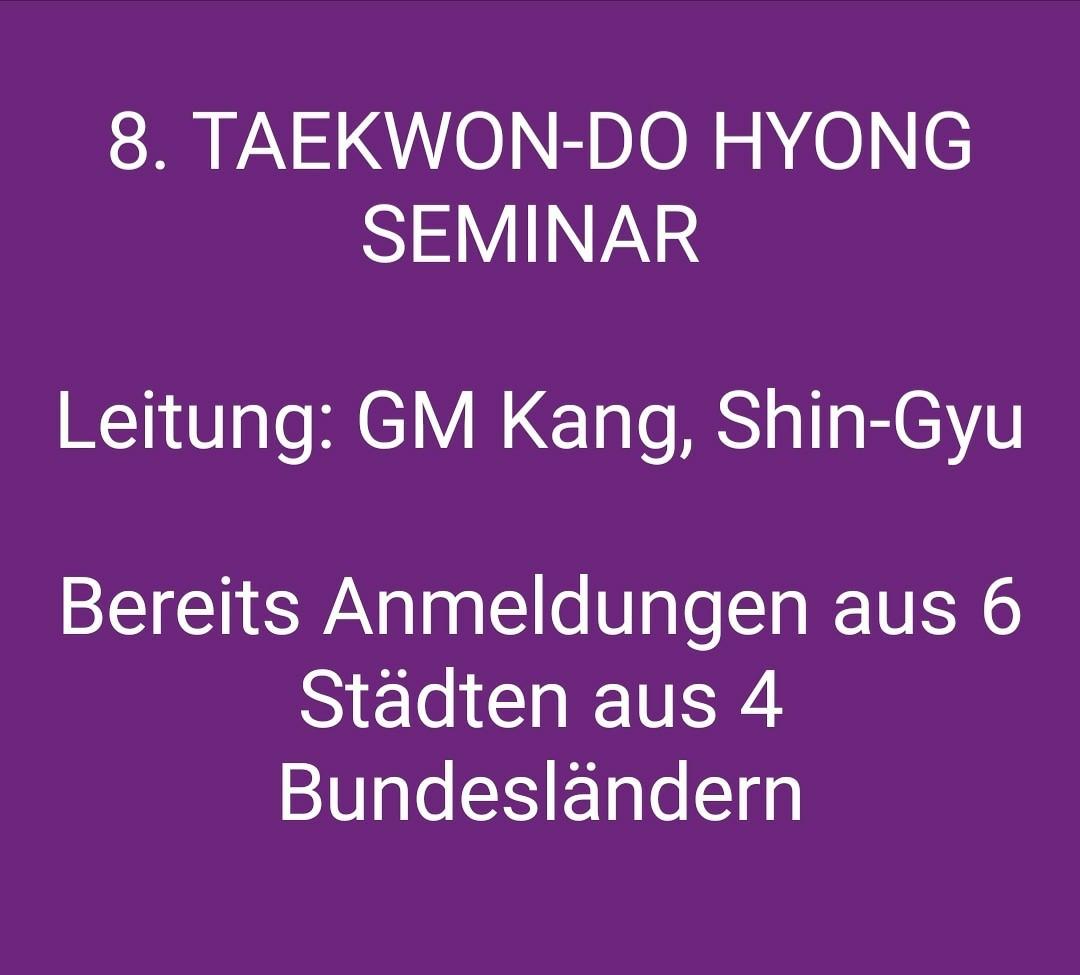 Anmeldung zum 8. Taekwon-Do Hyong Seminar