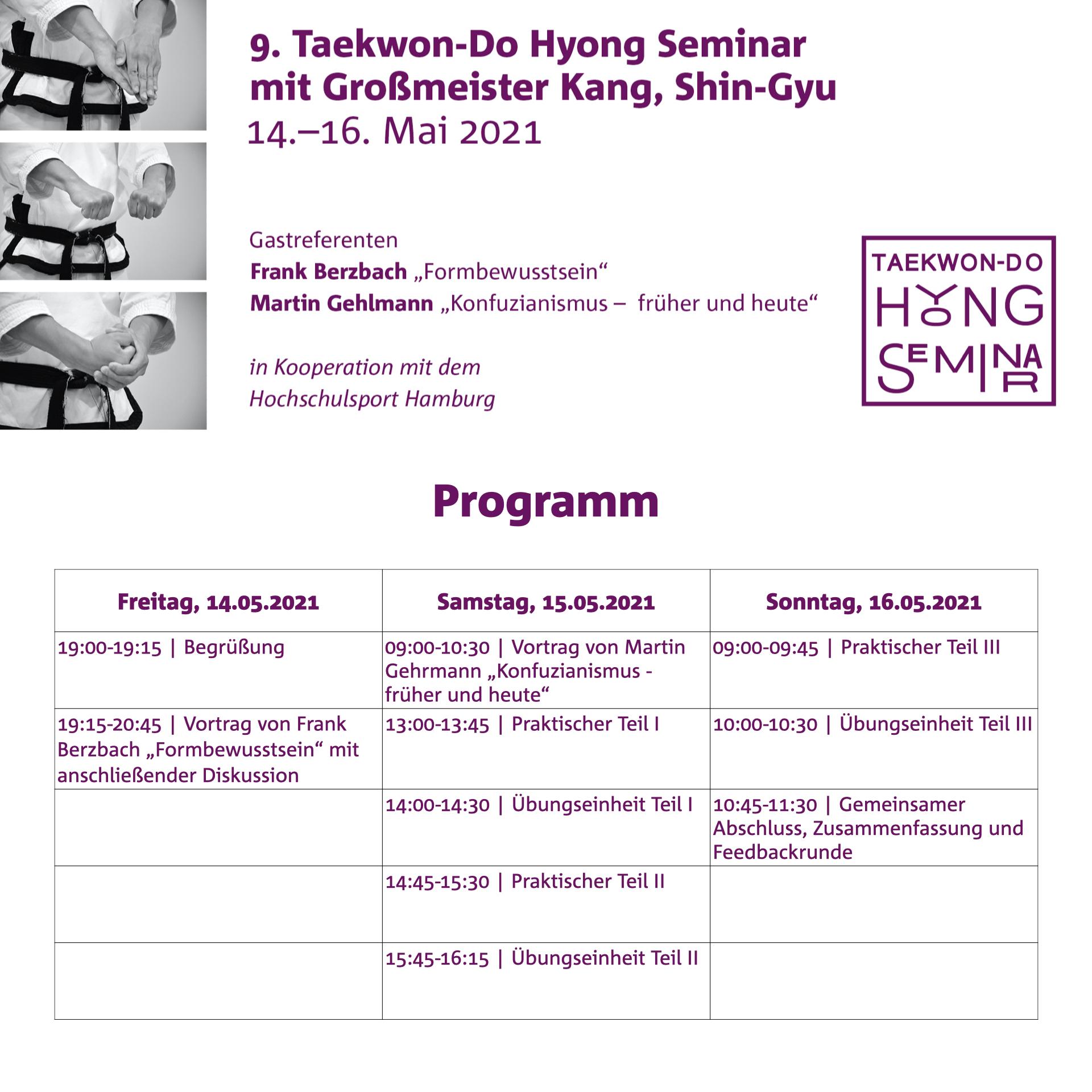 Programm ist online | 9. Taekwon-Do Hyong Seminar