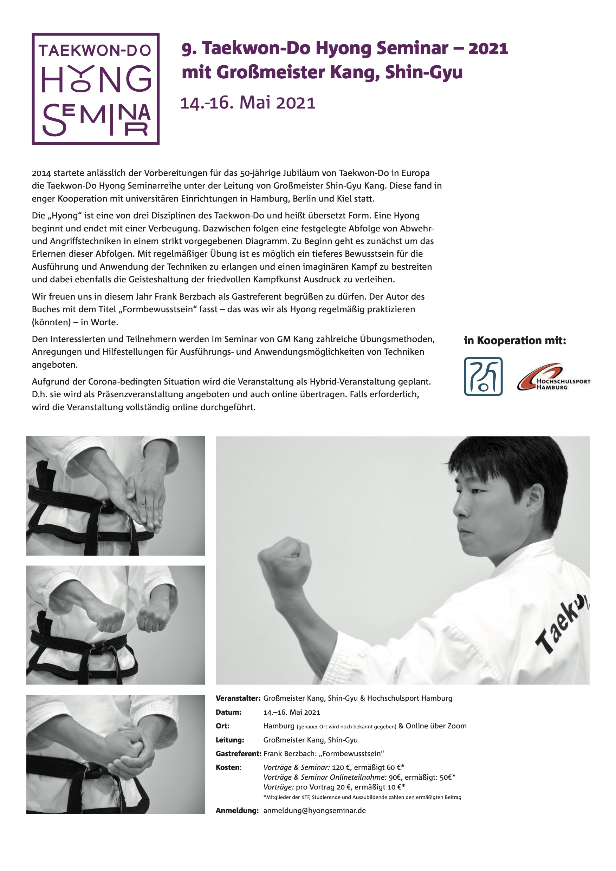 9. Taekwon-Do Hyong Seminar | 14.– 16. Mai 2021 | Hamburg